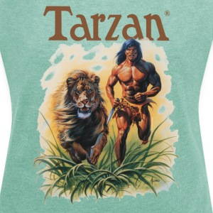 Tarzan running with a lion - T-skjorte med rulleermer for kvinner
