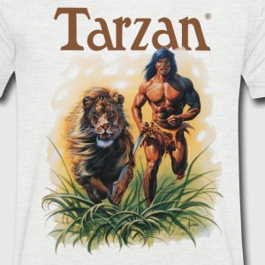 Tarzan running with a lion - Men's V-Neck T-Shirt
