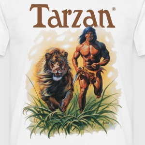 Tarzan running with a lion - Camiseta hombre
