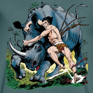 Tarzan fighting with a rhino - Mannen T-shirt met V-hals