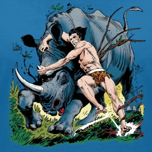 Tarzan fighting with a rhino - T-skjorte med V-utsnitt for kvinner