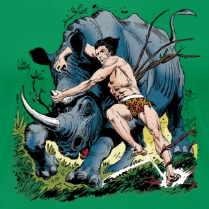 Tarzan fighting with a rhino - Premium T-skjorte for kvinner