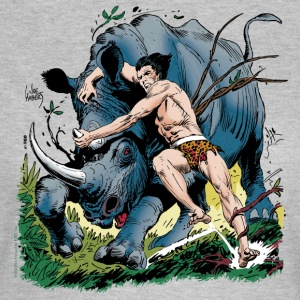 Tarzan fighting with a rhino - T-shirt dam