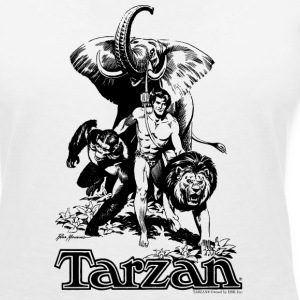 Tarzan with elephant, lion and apes - T-skjorte med V-utsnitt for kvinner