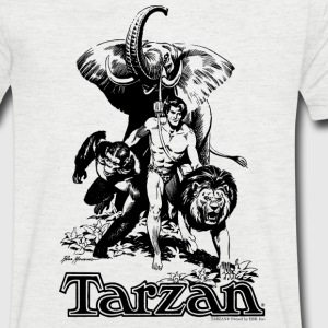 Tarzan with elephant, lion and apes - Men's V-Neck T-Shirt