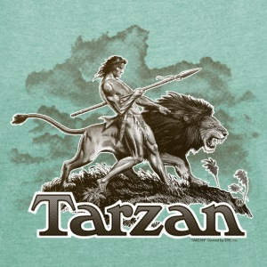 Tarzan and a wild lion - T-skjorte med rulleermer for kvinner