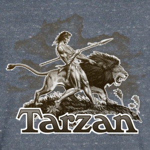 Tarzan and a wild lion - Men's V-Neck T-Shirt