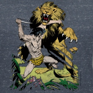 Tarzan and a wild lion - Women's V-Neck T-Shirt