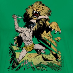Tarzan and a wild lion - Herre premium T-shirt