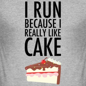 I Run Because I Really Like Cake Magliette - Maglietta aderente da uomo