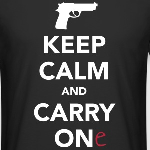 Keep Calm And Carry One (Gun) T-Shirts - Men's Long Body Urban Tee
