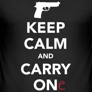 Keep Calm And Carry One (Gun) T-Shirts - Men's Slim Fit T-Shirt