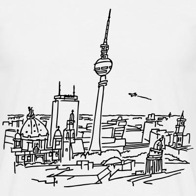 Berlin, Panorama, Zeichnung, Alexanderplatz, Fernsehturm, Ostberlin, Berliner Dom