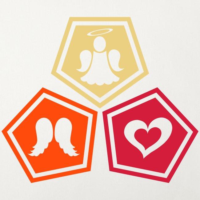 Housse de coussin décorative Trio ange, ailes d'ange et coeur