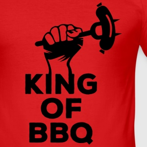 King of BBQ Grill grillen Grillmeister Wurst  T-Shirts - Men's Slim Fit T-Shirt