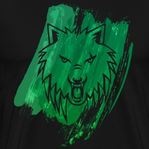 Apollo Wolf paint brush Green premium - Men's Premium T-Shirt