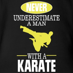 UNDERESTIMATE NEVER A MAN AND HIS KARATE! Baby Bodysuits - Organic Short-sleeved Baby Bodysuit