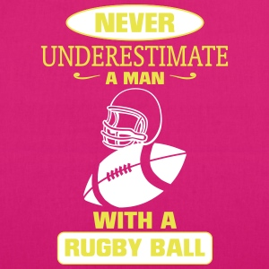 A MAN WITH A RUGBY NEVER UNDERESTIMATE  Bags & Backpacks - EarthPositive Tote Bag