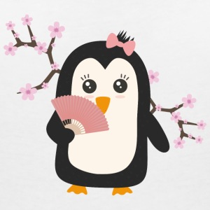 Japanese Penguin T-Shirts - Women's V-Neck T-Shirt