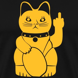 Winkekatze with middle finger T-Shirts - Men's Premium T-Shirt