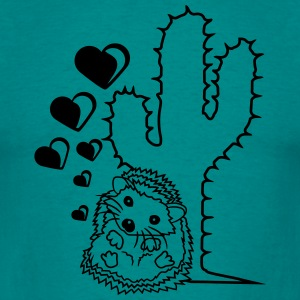 love hearts love couple prickly cactus cuddling co T-Shirts - Men's T-Shirt