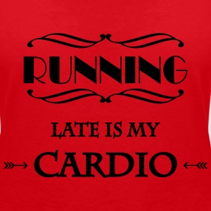 Running late is my cardio T-skjorter - T-skjorte med V-utsnitt for kvinner