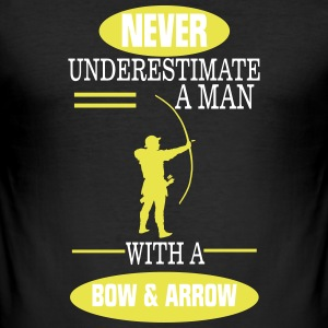 A MAN NEVER UNDERESTIMATE WITH BOW AND ARROW! T-Shirts - Men's Slim Fit T-Shirt