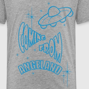 Coming From Angeland UFO (Front) - Light Blue logo - Kids' Premium T-Shirt