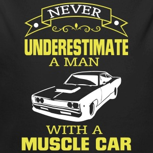 NEVER A MAN TO UNDERESTIMATE HIS MUSCLE CAR! Baby Bodysuits - Longlseeve Baby Bodysuit