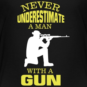 UNDERESTIMATE NEVER A MAN AND HIS GUN! Shirts - Teenage Premium T-Shirt