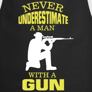 UNDERESTIMATE NEVER A MAN AND HIS GUN!  Aprons - Cooking Apron
