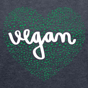 Vegan Heart T-Shirts - Women's T-shirt with rolled up sleeves