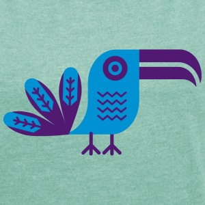 Toucan, bird, birdy, jungle, rainforest, nature T-Shirts - Women's T-shirt with rolled up sleeves