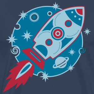 Retro Rocket, 3c, Planet, Stars, Space, Galaxy, T-Shirts - Men's Premium T-Shirt