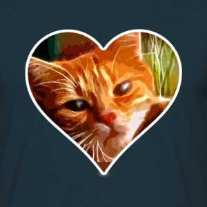 Katzenherz (Heart and Cat) T-Shirts - Men's T-Shirt
