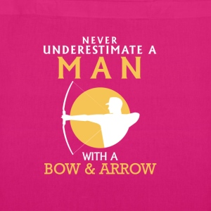 A MAN NEVER UNDERESTIMATE WITH BOW AND ARROW! Bags & Backpacks - EarthPositive Tote Bag