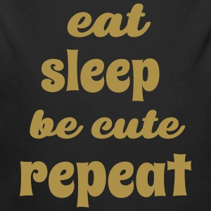 eat sleep be cute repeat Baby Bodysuits - Longlseeve Baby Bodysuit