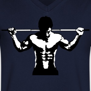 Vektløfting Muscle Sports Art Design T-skjorter - T-skjorte med V-utsnitt for menn