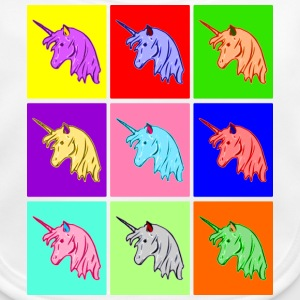 Pop Art Einhorn, Pop Art Unicorn Babyhaklapp - Ekologisk babyhaklapp