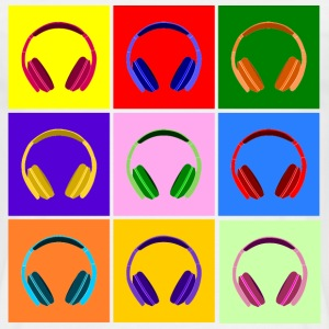 Pop Art Kopfhörer, Pop Art Headphones T-skjorter - T-skjorte for menn