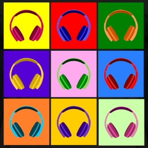 Pop Art Kopfhörer, Pop Art Headphones Koszulki - Koszulka męska