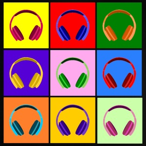 Pop Art Kopfhörer, Pop Art Headphones Camisetas Bebés - Camiseta bebé