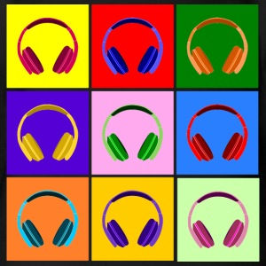 Pop Art Kopfhörer, Pop Art Headphones Babybody - Økologisk kortermet baby-body
