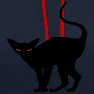 Creepy black halloween cat contrast colour oodie - Contrast Colour Hoodie