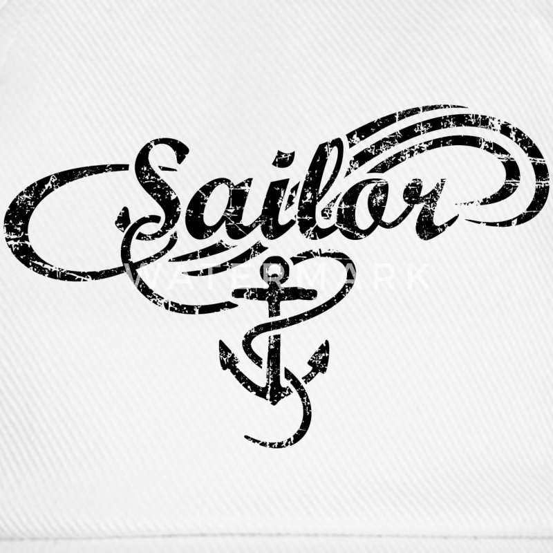 Sailor Waves Anchor Vintage Sail Design (Black) Caps & Hats - Baseball Cap