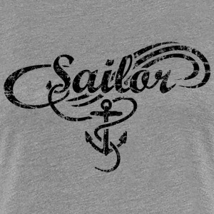 Sailor Waves Anchor Vintage Sail Design (Black) T-Shirts - Women's Premium T-Shirt