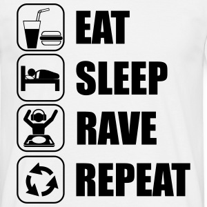 eat,sleep,rave,repeat,music - T-skjorte for menn