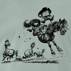 Thelwell 'Cowboy Western riding' T-shirts - Herre premium T-shirt