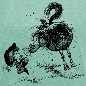 Thelwell 'Pony sticks out his tounge. T-Shirts - Frauen T-Shirt mit gerollten Ärmeln