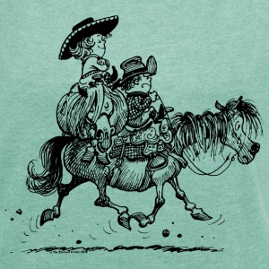 Thelwell 'Two Cowboys' T-shirts - Dame T-shirt med rulleærmer